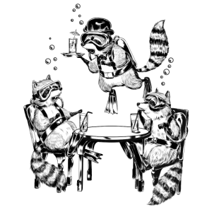 Racoon Underwater Gin Party