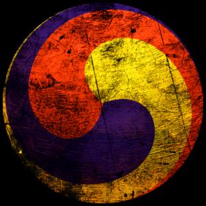 dreifarbiger Kreis Koreanisch rot gelb blau Korea