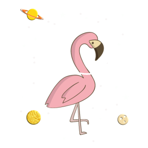 Flamingo im Weltall Geschenkidee Sterne Planeten
