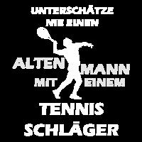Alter Mann beim Tennis spielen Geschenk Shirt