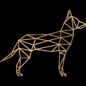 Malinois Schäferhund Geometrisch - gold