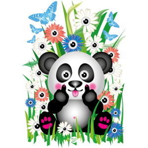 24 Blumen Baby Panda Bär Stinkefinger Mittelfinger