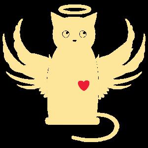 Katzenengel-Shirt Herz Katzenfreunde Geschenk