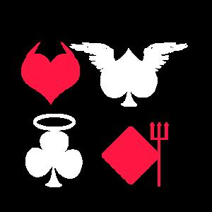 Kartenspiel Pik Herz Karo Kreuz Teufelchen Engel