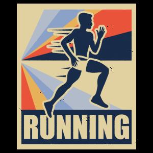 Running Rennen Bewegung Retro Geschenk