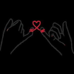 Zwei Hände mit Herz Schleife, Valentinstag, Liebe