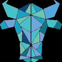 Polygone Illustration von einem Tier. Stier Bulle