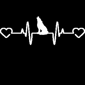 Herzschlag Wolf Heartbeat Lustig Fun Geschenkidee