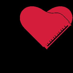 I Love Piano Heart Design