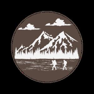 Berge Wanderer Bergsteiger Logo Silhouette