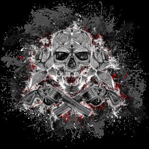 Totenkopf Tod Pirat Paint Splatter Art