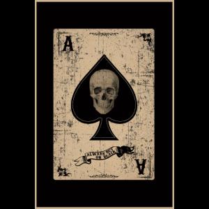 Pik, Totenkopf, retro style,Spielkarte