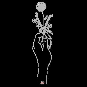Hand hält Pflanzen