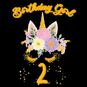 Geburtstag 2 Jahre Einhorn, Unicorn T-Shirt Zwei