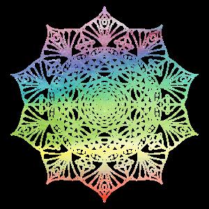 Regenbogenfarben Blume Mandala Geschenk