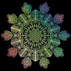 Regenbogen Blume des Lebens Mandala Geschenkidee