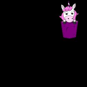 Einhorn in Brusttasche Violett