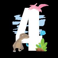 Dino T-Shirt 4. Geburtstag Dinosaurier T-Rex Junge