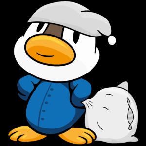 Ente mit Schlafanzug und Kopfkissen