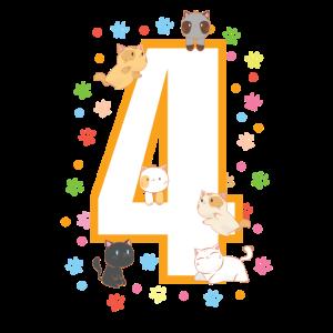 4. Geburtstag T-Shirt Katzen