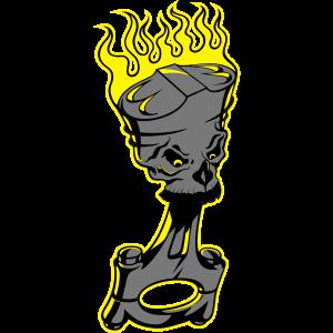 Piston - Brennender Kolben mit Totenschädel