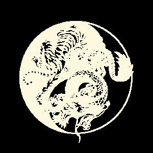 Drache gegen Tiger Tattoo! Yin und Yang Beast Fight