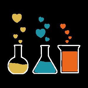 Kolben Liebe Herz Chemie Geschenk