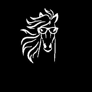 Nerd Pferd mit Brille