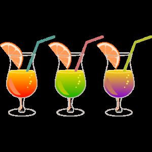 drei Cocktails in einer Reihe