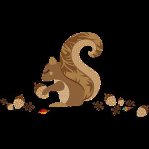 Ein Eichhörnchen mit einer Eichel