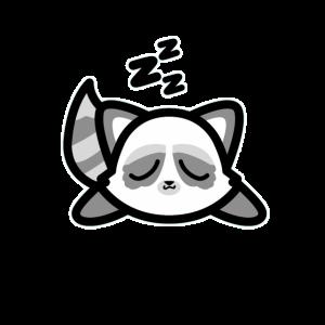 Niedlicher schlafender Waschbärentwurf Kawaii Art-Zeichnung