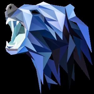 Abstrakter Polygon Grizzly Bär Blau