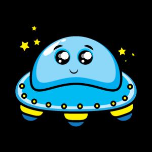 Blau Alien-Raumschiff Cartoon