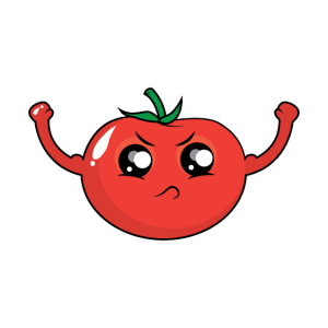 Starke Tomate-Karikatur