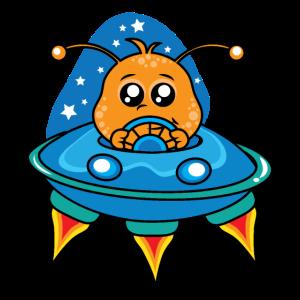 Cute Alien-Raumschiff Cartoon