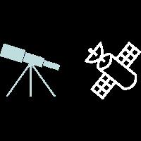 Fernrohr und Satellit