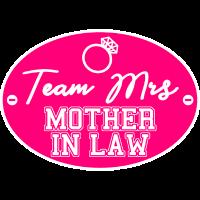 Team Braut Mrs Schwiegermutter JGA Schild Pink