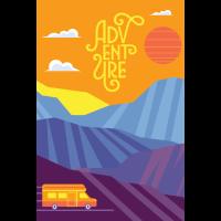 Adventure, Mountains, Retro Vintage, 70s, Camper