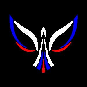 Vogel in der Farbe der Russischen Flage