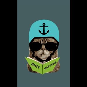 Handyhuelle Katze Helm - Buch - Shit Happens -