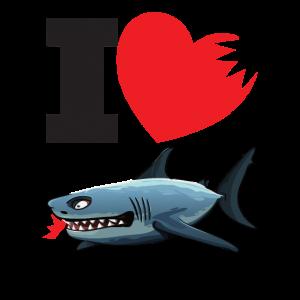 Ich liebe Hai I Herz Shark Angler Shirt