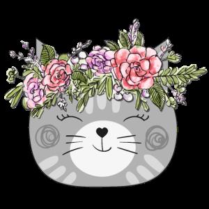 Flower Crown Cat Design - Katze mit Blumenkranz