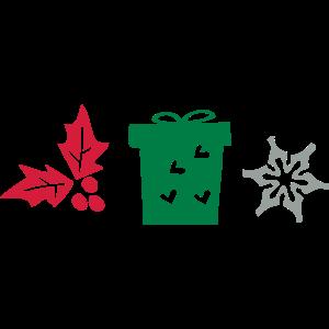 Holly Blatt Geschenk-Box und Schneeflocke