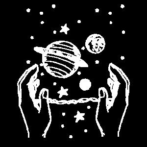 Hand greift über das Universum