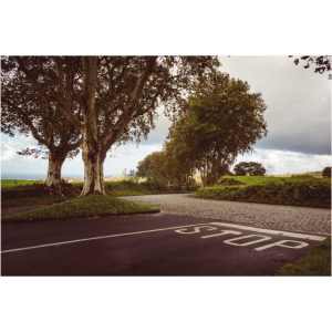 Stop - ländliche Straßenkreuzung auf den Azoren