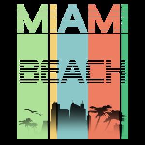 Miami Beach Vintage Cool Stripes Skyline Küste