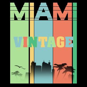 Miami Bunte Streifen Vintage Cool Urlaubs Tshirt
