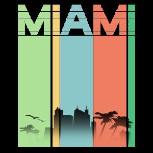 Miami Vintage Cooles Retro Streifen T-Shirt