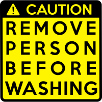 Achtung: vor dem Waschen entfernen Person