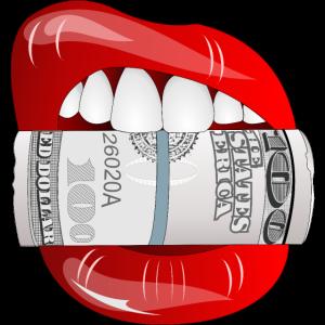 Sexy Mund Lippen Geld Scheine Reich Gewinn Poker